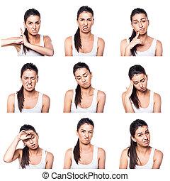 composto, gestos, menina, negativo, emoções