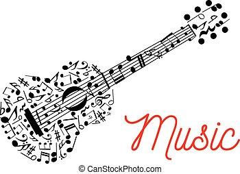 composto, guitarra, notas, musical, ícone