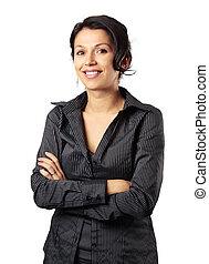 composto, latim, mulher negócio, sorrindo