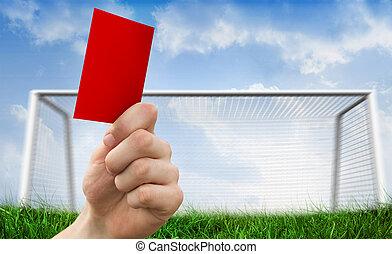 composto, mão, cartão, imagem, atrasando, vermelho