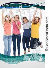 composto, meninas, pular, imagem, sorrindo, cima, celebrando