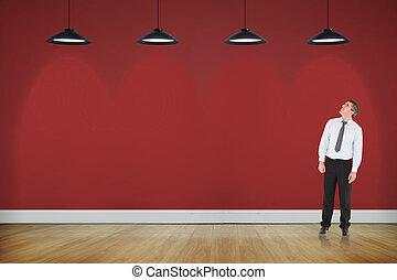 composto, olhar, imagem, cima, homem negócios