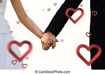 composto, par, meio, recém casado, segurar passa, seção, imagem