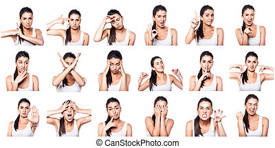 composto, positivo, negativo, emoções, gestos, gi