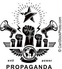 composto, pugni, elevato, vettore, illustration., mezzi, bandiera, marketing, globale, influenza, stretto, propaganda, altoparlanti, pianeta, terra, opinion., pubblico