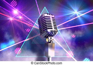 composto, retro, cromo, microfone, imagem