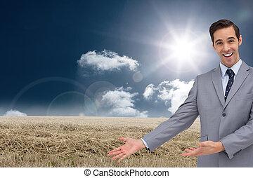 composto, seu, mãos, apresentação, dar, homem negócios, imagem, feliz
