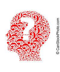 composto, testa, donna, collage, testo, domanda, isolato, ...