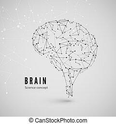 composto, triangles., concetto, fondo., scienza, grafico, linee, illustrazione, cervello, vettore, brain., punti, tecnologia