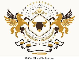 composto, vindima, cabeça, emblema, usando, pentagonal, mythic, agasalho, heraldic, stars., braços, vetorial, touro, pegasus, gracioso