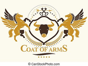 composto, vindima, cabeça, vetorial, emblema, illustration., usando, agasalho, heraldic, keys., braços, proteção, touro, selvagem, gracioso, pegasus