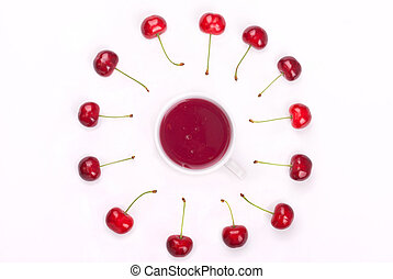 Compote in a bowl and red cherries on a white background. Top view .