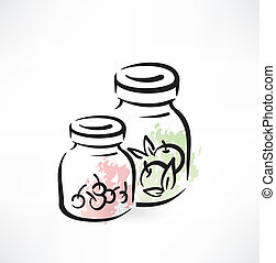 compote in jar grunge icon
