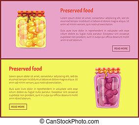 compote, nourriture, fruit, confiture, conservé, bannières, ou