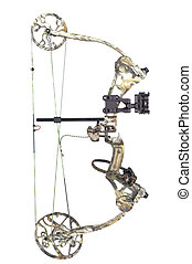 Camouflaged compound bow isolated on a white background