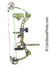modern, camouflaged, compound hunting bow