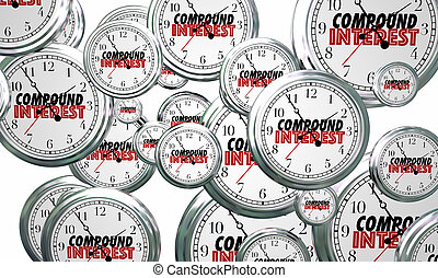 compound, interesse, voks, investering, clocks, flyve, 3, illustration