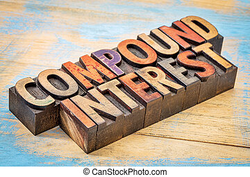 compound interest banner - text in vintage letterpress wood ...