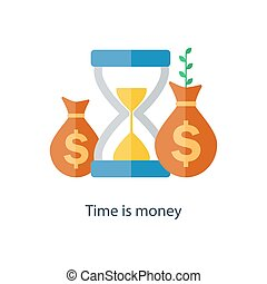 Compound interest concept. Time is money. Future income growth. Pension fund plan. Vector