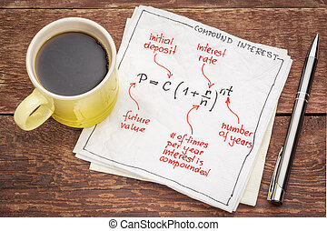 compound interest equation on a napkin with a cup of coffee ...