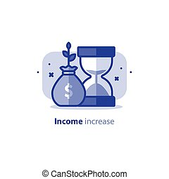 Compound interest, time is money, financial investments stock market, future income growth, revenue increase, money return, pension fund plan, savings account, vector icon
