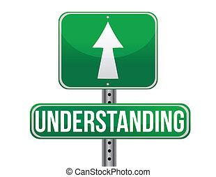 compréhension, conception, route, illustration, signe
