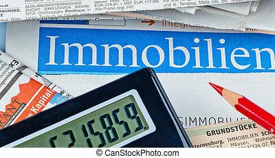 compra, anuncios, housing., ofrecido, sale., periódico, hogar, propiedades