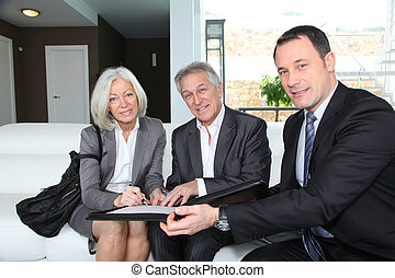 compra, assinando, financeiro, par, contrato, sênior, propriedade