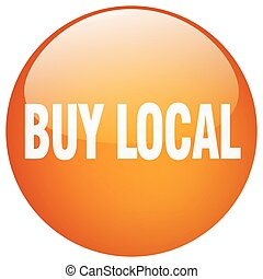 compra, botão, isolado, laranja, empurrão, local, redondo, ...