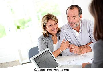 compra, casa, par, contrato, pronto, novo, sênior, leitura