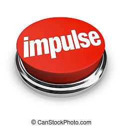 compra, compras, botón, opción, impulso, emocional, palabra, rojo, 3d