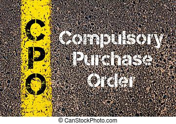 compra, empresa / negocio, cpo, siglas, compulsory, orden