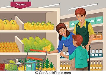 compra familiar, frutas, em, um, supermercado