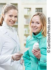 compra, médico, droga, farmácia