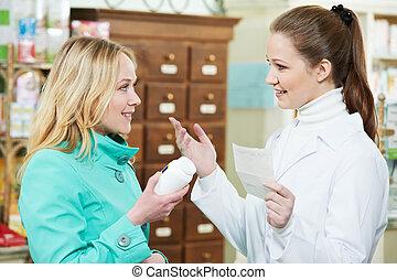 compra, médico, droga, farmacia
