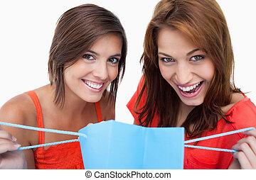 compra, meninas adolescentes, dois, saco, enquanto, segurando, sorrindo