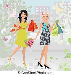 compra, moda, cidade, jovem, desenho, seu, mulheres