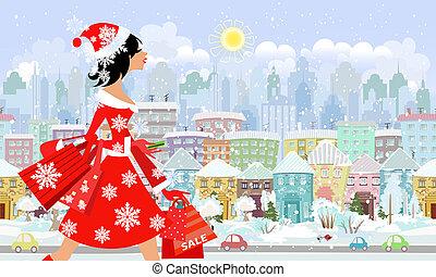 compra, moda, city., panorama, seamless, santa, menina
