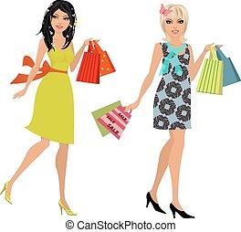 compra, moda, jovem, desenho, seu, mulheres