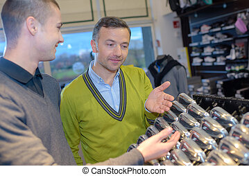 compra, palos de golf, en venta