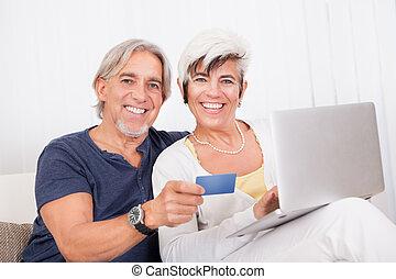 compra, par, feliz, fazer, online
