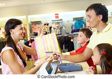 compra, para, niños