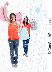 compra, segurando, sacolas, imagem composta, adolescentes, th, sorrindo