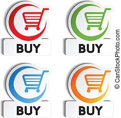 compra, shopping, -, carreta, botões, item, vetorial