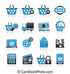 compra varejo, ícones
