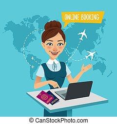 compra, vuelo, estantes, banner., viaje, booking., agente, ...
