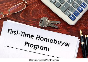 comprador, lar, program., primeiro, tempo