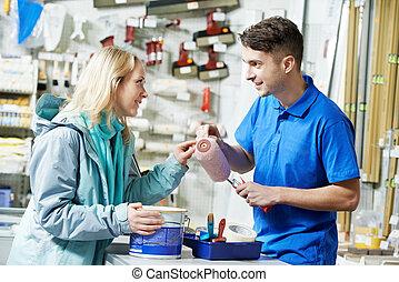 comprador, pintar rolo, demonstrar, vendedor