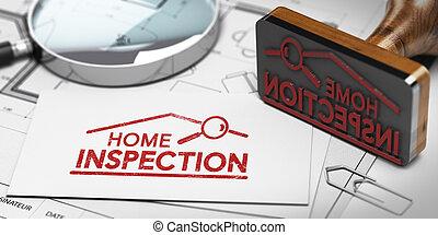 comprador, vendedor, hogar, propiedad, o, inspection., inspector