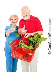 compradores, arriba, elasticidad, pulgares, 3º edad